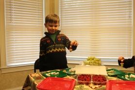 Carter proudly displays a kabob