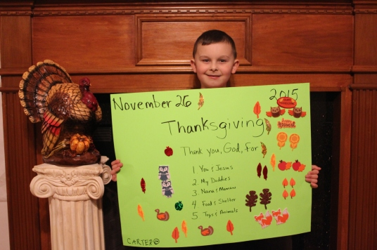 Carter's Top 5 (okay, more) Things he is Thankful for in 2015