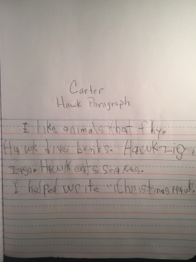 Carter writes his first complete paragraph in 5 sentences.