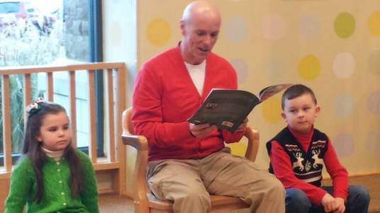 "November 28, 2015-Haven reads ""Christmas Hawk"" to a crowd at Barnes and Noble"