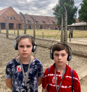 Ammon & Carter on the grounds at Auschwitz.
